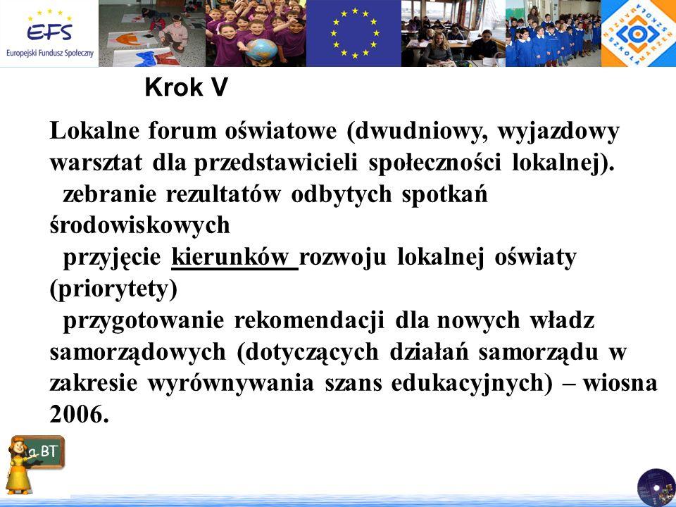 Krok V Lokalne forum oświatowe (dwudniowy, wyjazdowy warsztat dla przedstawicieli społeczności lokalnej). zebranie rezultatów odbytych spotkań środowi