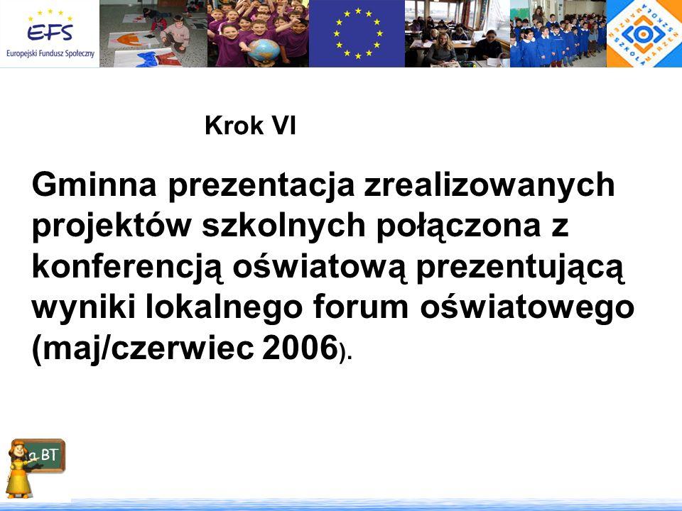 Krok VI Gminna prezentacja zrealizowanych projektów szkolnych połączona z konferencją oświatową prezentującą wyniki lokalnego forum oświatowego (maj/c
