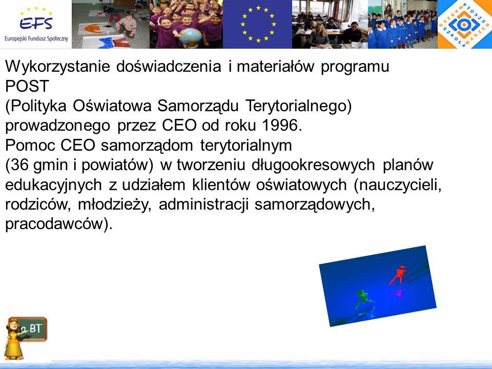 Wykorzystanie doświadczenia i materiałów programu POST (Polityka Oświatowa Samorządu Terytorialnego) prowadzonego przez CEO od roku 1996. Pomoc CEO sa