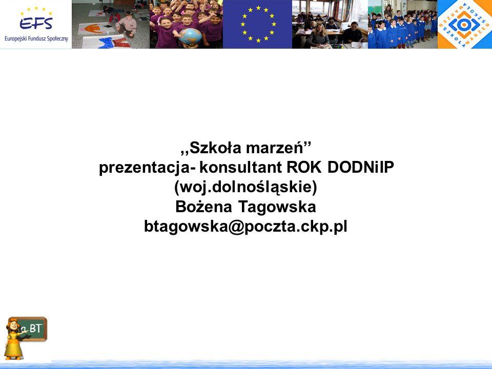 ,,Szkoła marzeń prezentacja- konsultant ROK DODNiIP (woj.dolnośląskie) Bożena Tagowska btagowska@poczta.ckp.pl