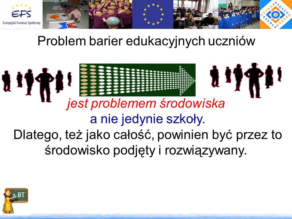 Problem barier edukacyjnych uczniów szkół wiejskich jest problemem środowiska a nie jedynie szkoły. Dlatego, też jako całość, powinien być przez to śr