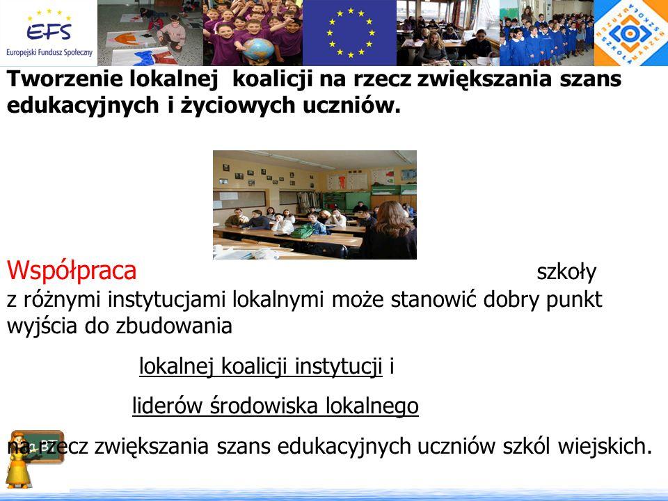 Tworzenie lokalnej koalicji na rzecz zwiększania szans edukacyjnych i życiowych uczniów. Współpraca szkoły z różnymi instytucjami lokalnymi może stano