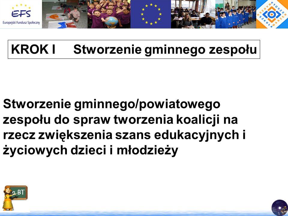 KROK I Stworzenie gminnego zespołu Stworzenie gminnego/powiatowego zespołu do spraw tworzenia koalicji na rzecz zwiększenia szans edukacyjnych i życio