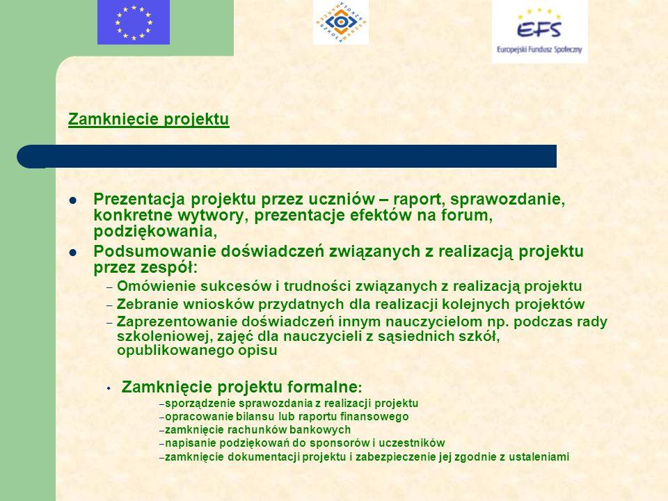 Zamknięcie projektu Prezentacja projektu przez uczniów – raport, sprawozdanie, konkretne wytwory, prezentacje efektów na forum, podziękowania, Podsumo