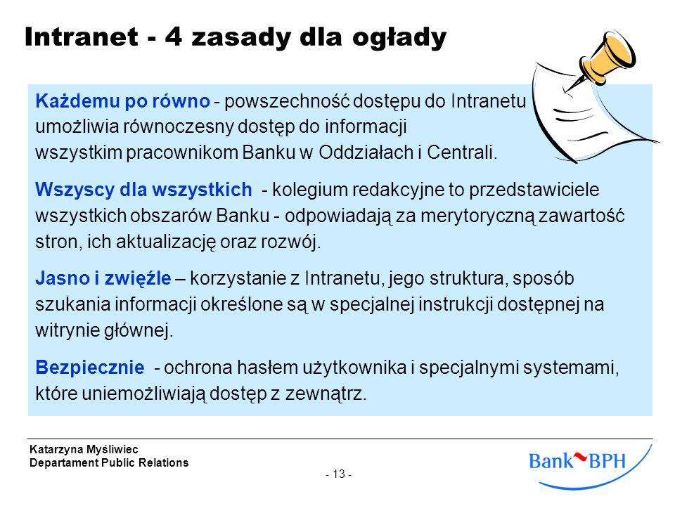 - 13 - Katarzyna Myśliwiec Departament Public Relations Intranet - 4 zasady dla ogłady Każdemu po równo - powszechność dostępu do Intranetu umożliwia