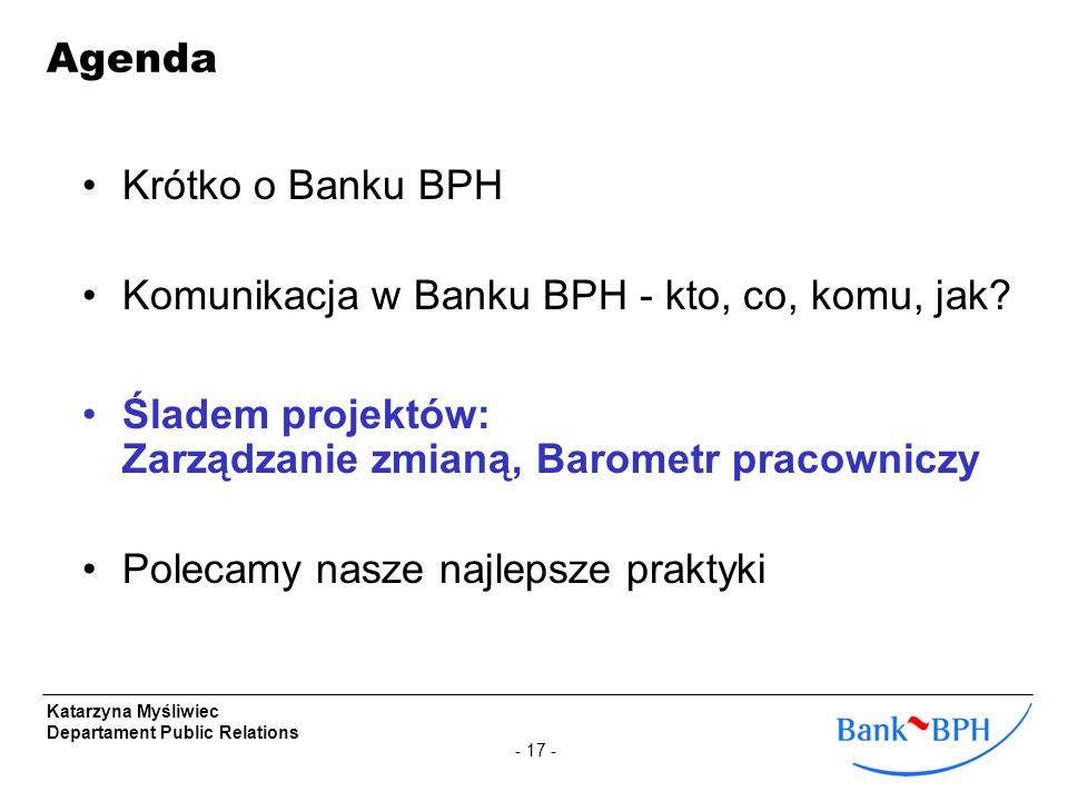 - 17 - Katarzyna Myśliwiec Departament Public Relations Krótko o Banku BPH Komunikacja w Banku BPH - kto, co, komu, jak? Śladem projektów: Zarządzanie