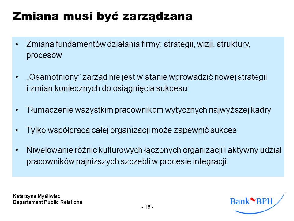 - 18 - Katarzyna Myśliwiec Departament Public Relations Zmiana musi być zarządzana Zmiana fundamentów działania firmy: strategii, wizji, struktury, pr