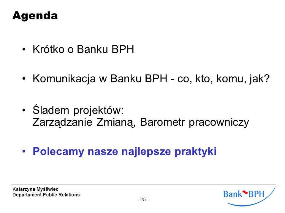 - 25 - Katarzyna Myśliwiec Departament Public Relations Krótko o Banku BPH Komunikacja w Banku BPH - co, kto, komu, jak? Śladem projektów: Zarządzanie