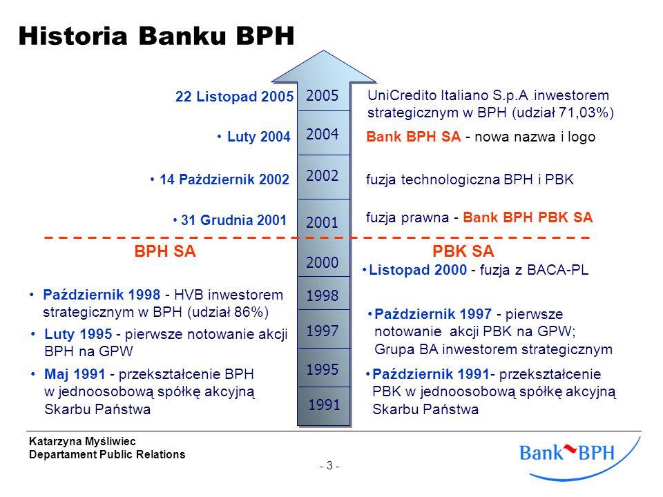- 4 - Katarzyna Myśliwiec Departament Public Relations Bank BPH to ogólnopolska i uniwersalna instytucja finansowa Nr 2 w polskim sektorze bankowym pod względem udzielonych kredytów, Nr 3 pod względem aktywów, depozytów, liczby placówek i bankomatów ~10% udział w rynku, ponad 3 mln klientów 480 oddziałów (plus 375 agencji) oraz 23 centra korporacyjne 766 bankomatów i bezpłatny dostęp dla klientów do 608 bankomatów sieci Euronet Silna baza klientów korporacyjnych Bank Hipoteczny w Grupie Kapitałowej Lider w rozwoju alternatywnych kanałów dystrybucji dla klientów detalicznych Lider we wdrażaniu cash management / electronic banking dla klientów korporacyjnych Liczba oddziałów- koncentracja centra korporacyjne (Warszawa – 5, Kraków – 2) Dane na 31.12.2005