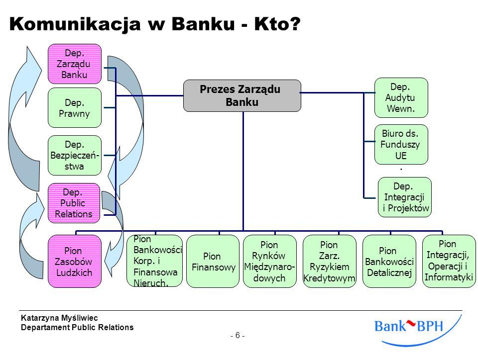 - 17 - Katarzyna Myśliwiec Departament Public Relations Krótko o Banku BPH Komunikacja w Banku BPH - kto, co, komu, jak.