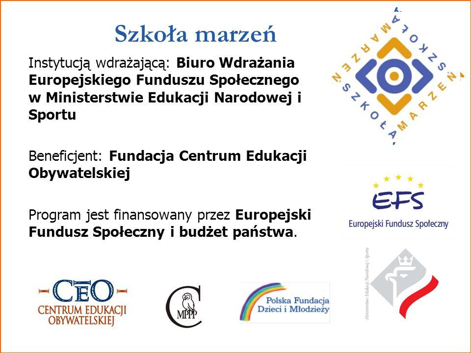 SzkołaMarzeń 3 Program Szkoła marzeń prowadzą: Fundacja Centrum Edukacji Obywatelskiej; Polska Fundacja Dzieci i Młodzieży; Centrum Metodyczne Pomocy Psychologiczno-Pedagogicznej.