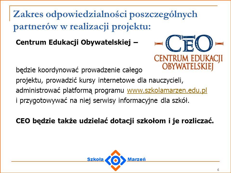 SzkołaMarzeń 7 Zakres odpowiedzialności partnerów: Polska Fundacja Dzieci i Młodzieży – przeprowadzi procedurę konkursową łącznie z oceną formalną i merytoryczną wniosków przygotowanych przez szkoły.
