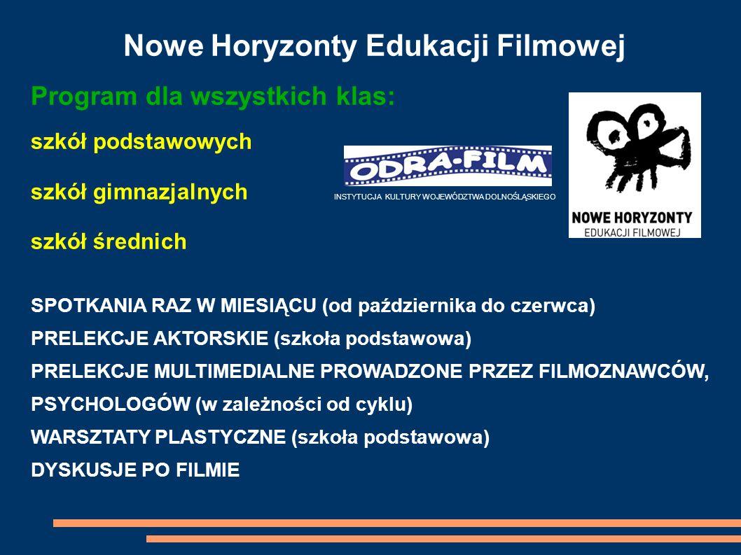 Nowe Horyzonty Edukacji Filmowej Program dla wszystkich klas: szkół podstawowych szkół gimnazjalnych INSTYTUCJA KULTURY WOJEWÓDZTWA DOLNOŚLĄSKIEGO szk