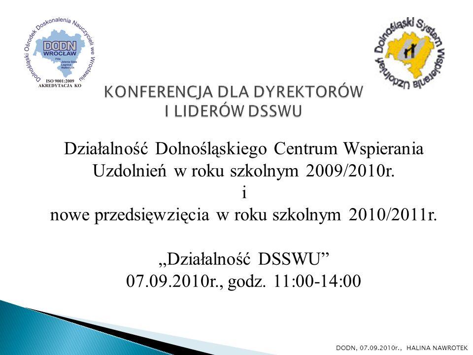 Działalność Dolnośląskiego Centrum Wspierania Uzdolnień w roku szkolnym 2009/2010r. i nowe przedsięwzięcia w roku szkolnym 2010/2011r. Działalność DSS