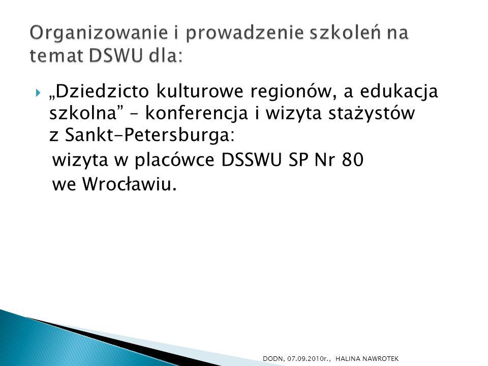 Dziedzicto kulturowe regionów, a edukacja szkolna – konferencja i wizyta stażystów z Sankt-Petersburga: wizyta w placówce DSSWU SP Nr 80 we Wrocławiu.