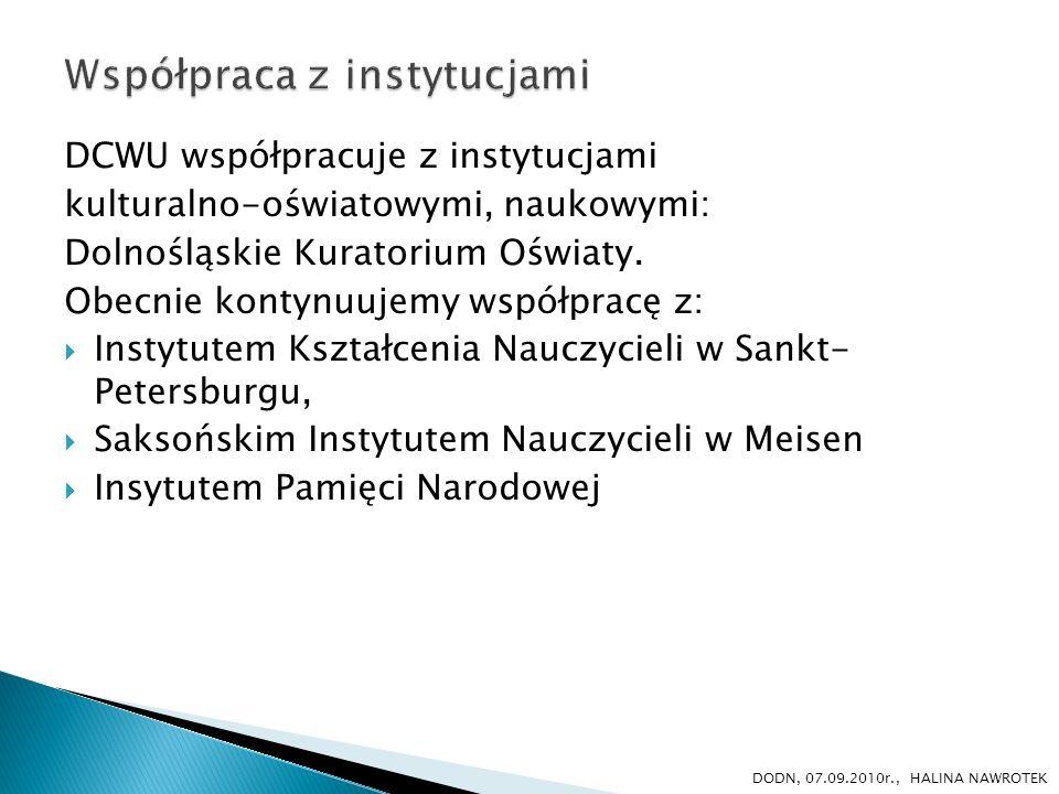 Ponadto nawiązaliśmy współpracę z: poradniami psychologiczno-pedagogicznymi, Teatrem Dramatycznym w Wałbrzychu Multicentrum we Wrocławiu i Jeleniej Górze wydawnictwami edukacyjnymi, w tym z wydawnictwem DODN Oblicza Edukacji, Małe formy metodyczne, Dolnośląskie Ścieżki.