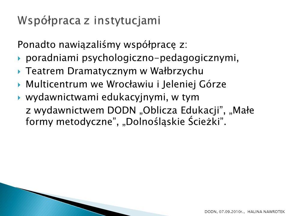 Ponadto nawiązaliśmy współpracę z: poradniami psychologiczno-pedagogicznymi, Teatrem Dramatycznym w Wałbrzychu Multicentrum we Wrocławiu i Jeleniej Gó