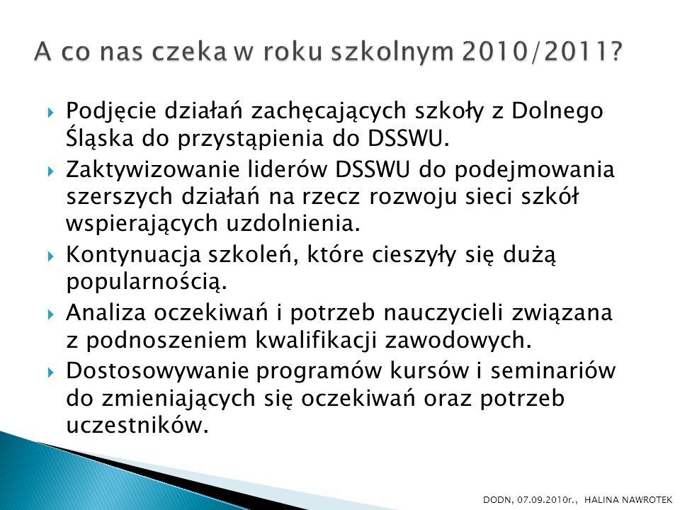 Podjęcie działań zachęcających szkoły z Dolnego Śląska do przystąpienia do DSSWU. Zaktywizowanie liderów DSSWU do podejmowania szerszych działań na rz