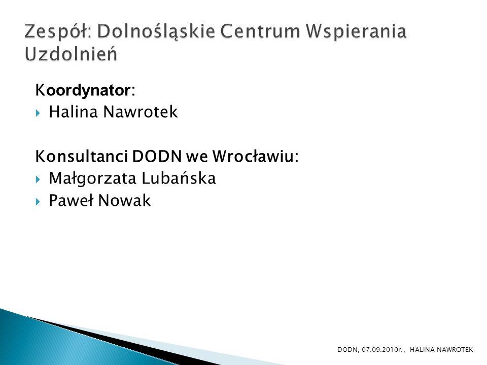 K oordynator : Halina Nawrotek Konsultanci DODN we Wrocławiu: Małgorzata Lubańska Paweł Nowak DODN, 07.09.2010r., HALINA NAWROTEK