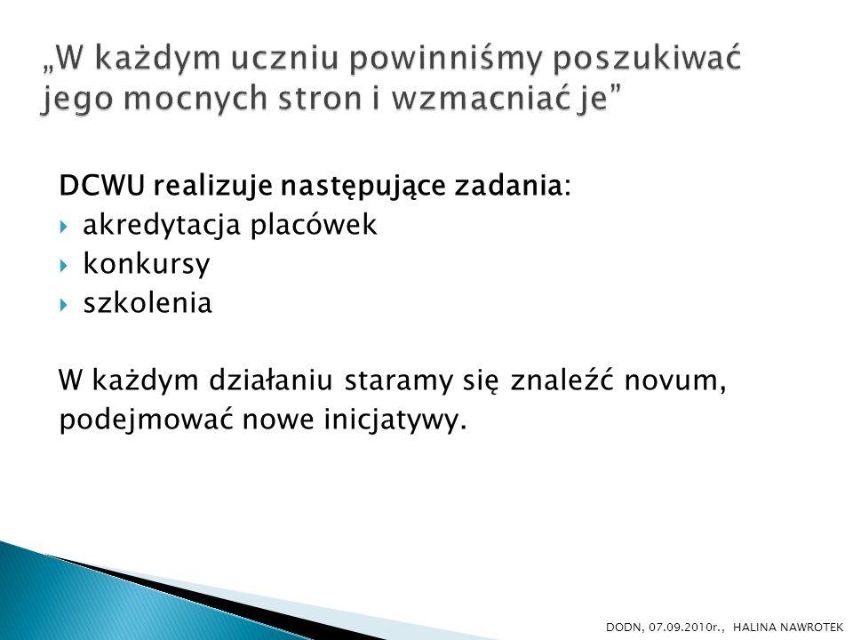 DCWU realizuje następujące zadania: akredytacja placówek konkursy szkolenia W każdym działaniu staramy się znaleźć novum, podejmować nowe inicjatywy.