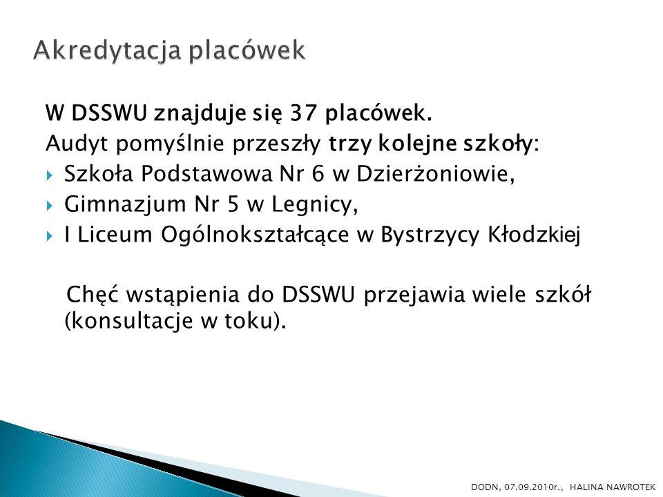 W DSSWU znajduje się 37 placówek. Audyt pomyślnie przeszły trzy kolejne szkoły: Szkoła Podstawowa Nr 6 w Dzierżoniowie, Gimnazjum Nr 5 w Legnicy, I Li