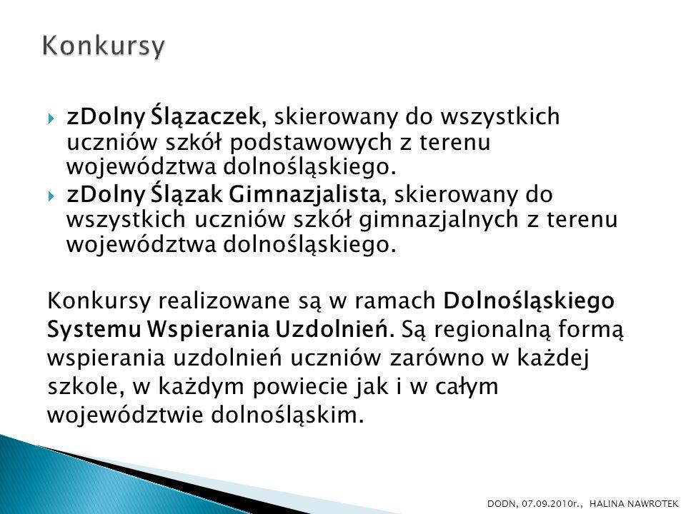 Organizatorem jest: Dolnośląski Kurator Oświaty przy współpracy z Samorządem Województwa Dolnośląskiego i D ODN we Wrocławiu.
