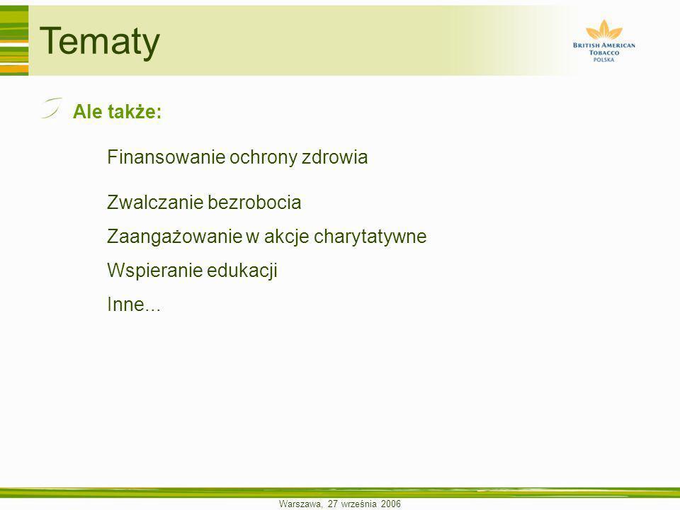 Warszawa, 27 września 2006 Tematy Ale także: Finansowanie ochrony zdrowia Zwalczanie bezrobocia Zaangażowanie w akcje charytatywne Wspieranie edukacji