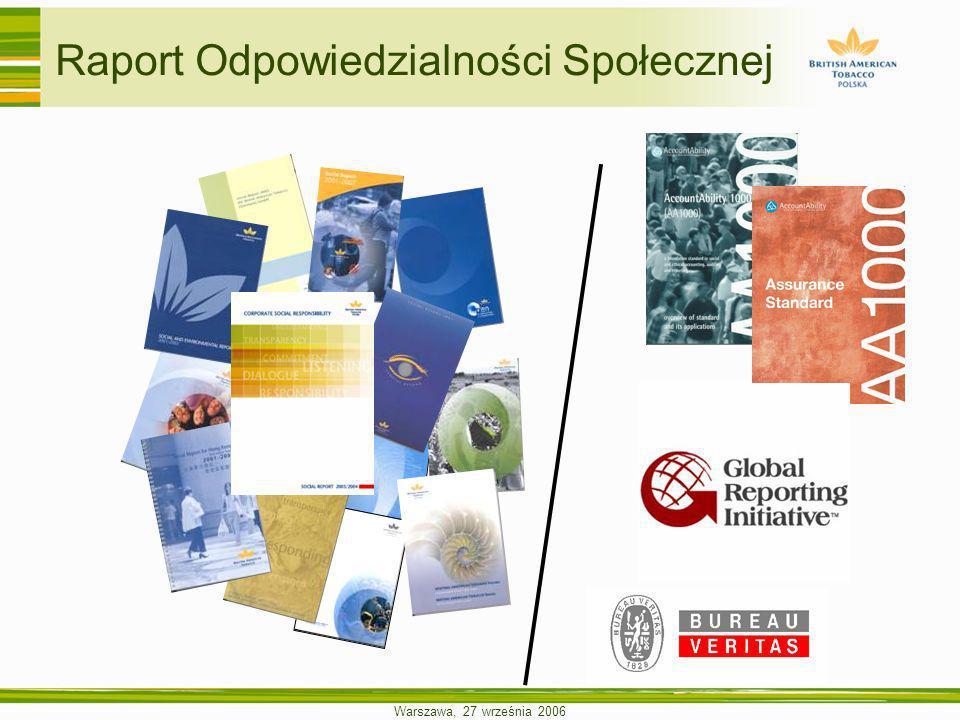 Warszawa, 27 września 2006 Raport Odpowiedzialności Społecznej