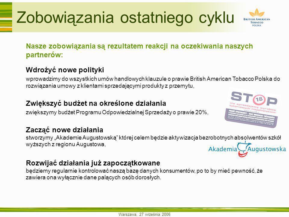 Warszawa, 27 września 2006 Nasze zobowiązania są rezultatem reakcji na oczekiwania naszych partnerów: Wdrożyć nowe polityki wprowadzimy do wszystkich