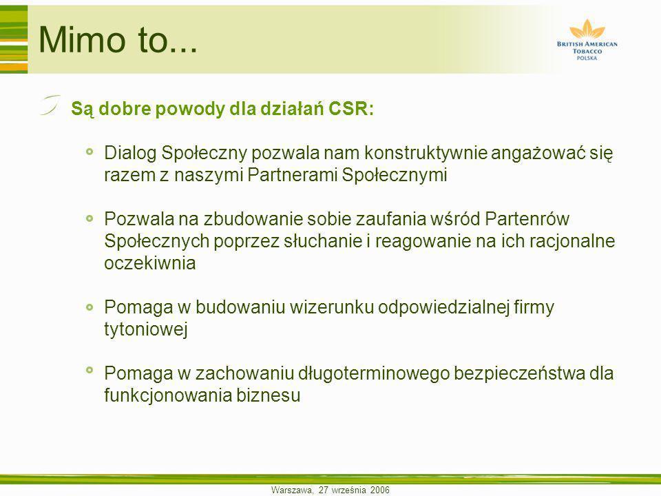 Warszawa, 27 września 2006 Mimo to... Są dobre powody dla działań CSR: Dialog Społeczny pozwala nam konstruktywnie angażować się razem z naszymi Partn