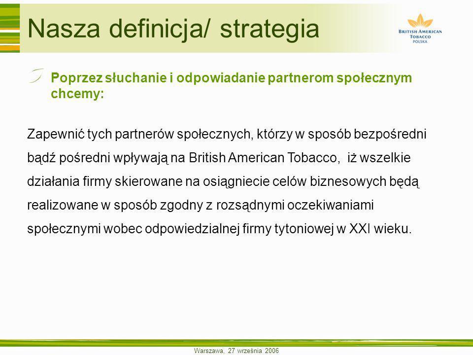 Warszawa, 27 września 2006 Nasza definicja/ strategia Poprzez słuchanie i odpowiadanie partnerom społecznym chcemy: Zapewnić tych partnerów społecznyc