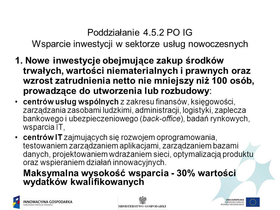 Poddziałanie 4.5.2 PO IG Wsparcie inwestycji w sektorze usług nowoczesnych 1. Nowe inwestycje obejmujące zakup środków trwałych, wartości niematerialn
