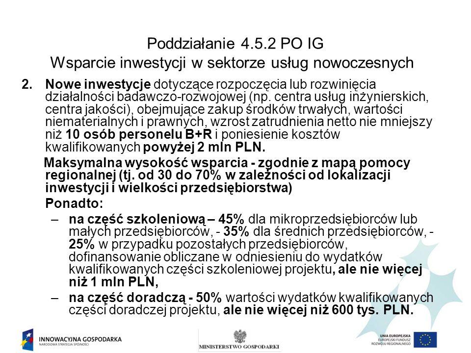 Poddziałanie 4.5.2 PO IG Wsparcie inwestycji w sektorze usług nowoczesnych 2.Nowe inwestycje dotyczące rozpoczęcia lub rozwinięcia działalności badawc