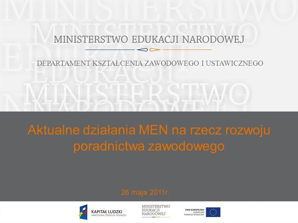 Aktualne działania MEN na rzecz rozwoju poradnictwa zawodowego 26 maja 2011r. DEPARTAMENT KSZTAŁCENIA ZAWODOWEGO I USTAWICZNEGO