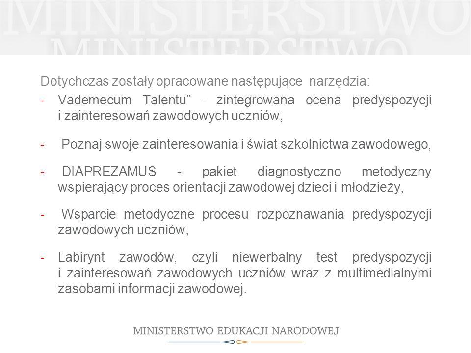 Dotychczas zostały opracowane następujące narzędzia: -Vademecum Talentu - zintegrowana ocena predyspozycji i zainteresowań zawodowych uczniów, - Pozna
