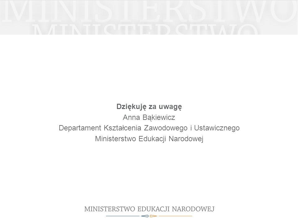 Dziękuję za uwagę Anna Bąkiewicz Departament Kształcenia Zawodowego i Ustawicznego Ministerstwo Edukacji Narodowej