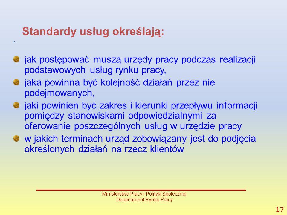 . 17 _______________________________________________ Ministerstwo Pracy i Polityki Społecznej Departament Rynku Pracy Standardy usług określają: jak postępować muszą urzędy pracy podczas realizacji podstawowych usług rynku pracy, jaka powinna być kolejność działań przez nie podejmowanych, jaki powinien być zakres i kierunki przepływu informacji pomiędzy stanowiskami odpowiedzialnymi za oferowanie poszczególnych usług w urzędzie pracy w jakich terminach urząd zobowiązany jest do podjęcia określonych działań na rzecz klientów