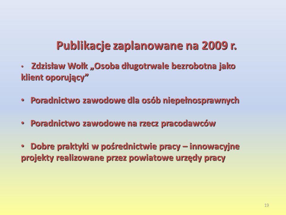 19 Publikacje zaplanowane na 2009 r.