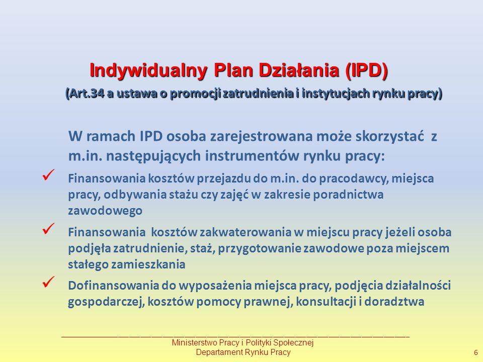 Indywidualny Plan Działania (IPD) (Art.34 a ustawa o promocji zatrudnienia i instytucjach rynku pracy) (Art.34 a ustawa o promocji zatrudnienia i instytucjach rynku pracy) W ramach IPD osoba zarejestrowana może skorzystać z m.in.