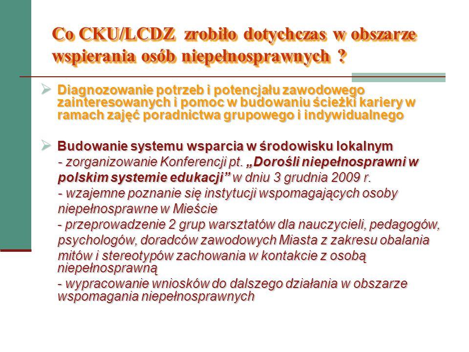 Co CKU/LCDZ zrobiło dotychczas w obszarze wspierania osób niepełnosprawnych ? Diagnozowanie potrzeb i potencjału zawodowego zainteresowanych i pomoc w