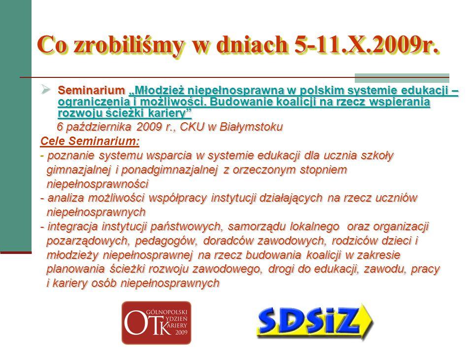 Co zrobiliśmy w dniach 5-11.X.2009r. Seminarium Młodzież niepełnosprawna w polskim systemie edukacji – ograniczenia i możliwości. Budowanie koalicji n