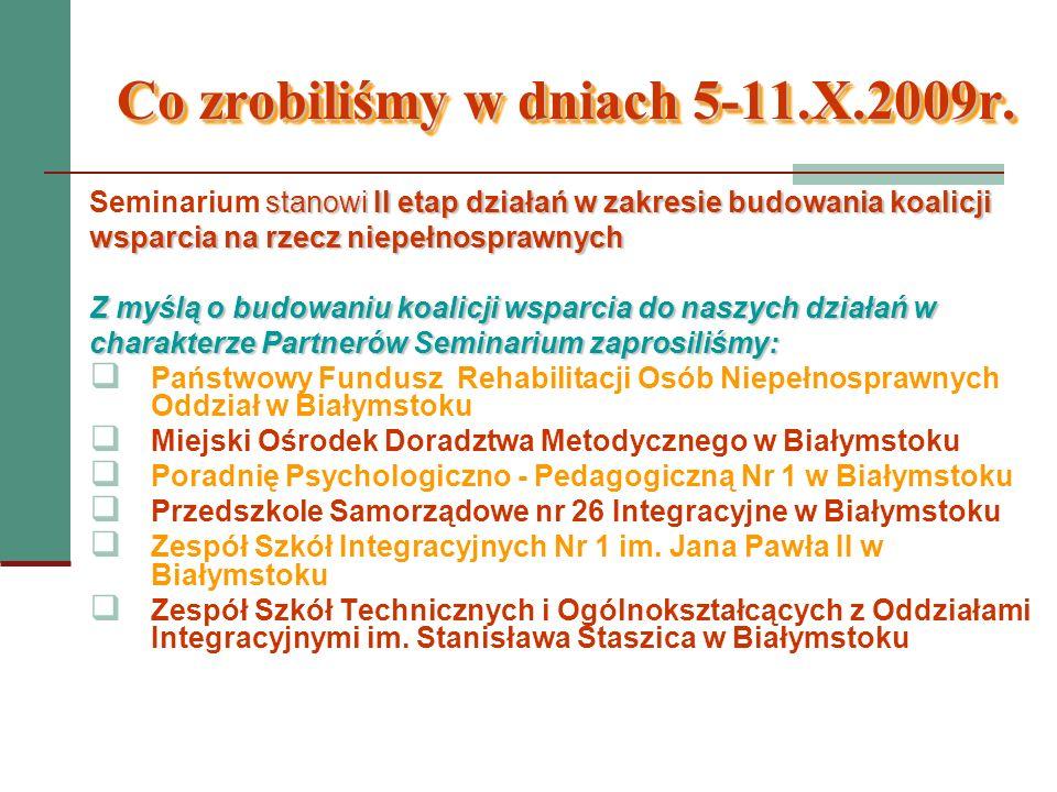 Co zrobiliśmy w dniach 5-11.X.2009r. stanowi II etap działań w zakresie budowania koalicji Seminarium stanowi II etap działań w zakresie budowania koa