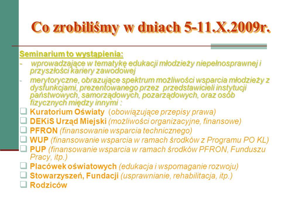 Co zrobiliśmy w dniach 5-11.X.2009r. Seminarium to wystąpienia: - wprowadzające w tematykę edukacji młodzieży niepełnosprawnej i przyszłości kariery z