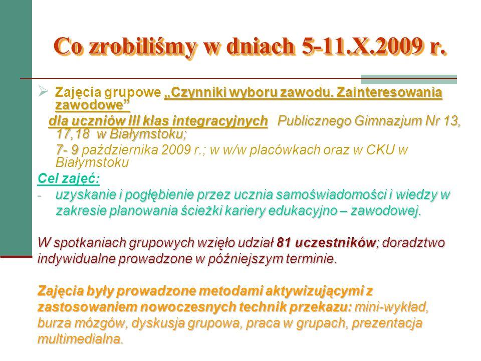 Co zrobiliśmy w dniach 5-11.X.2009 r. Czynniki wyboru zawodu. Zainteresowania zawodowe Zajęcia grupowe Czynniki wyboru zawodu. Zainteresowania zawodow