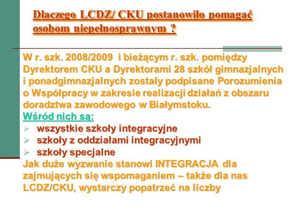 Dlaczego LCDZ/ CKU postanowiło pomagać osobom niepełnosprawnym ? W r. szk. 2008/2009 i bieżącym r. szk. pomiędzy Dyrektorem CKU a Dyrektorami 28 szkół