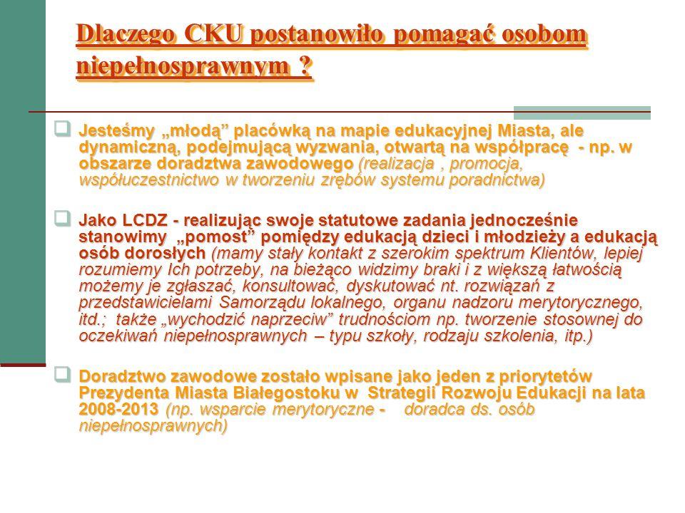 Co CKU/LCDZ zrobiło dotychczas w obszarze wspierania osób niepełnosprawnych .