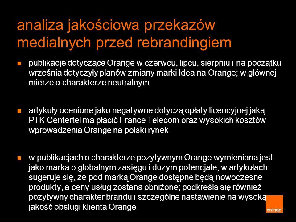 analiza jakościowa przekazów medialnych przed rebrandingiem publikacje dotyczące Orange w czerwcu, lipcu, sierpniu i na początku września dotyczyły pl