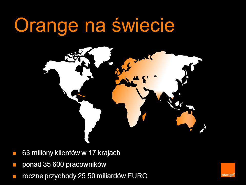 Orange na świecie 63 miliony klientów w 17 krajach ponad 35 600 pracowników roczne przychody 25.50 miliardów EURO