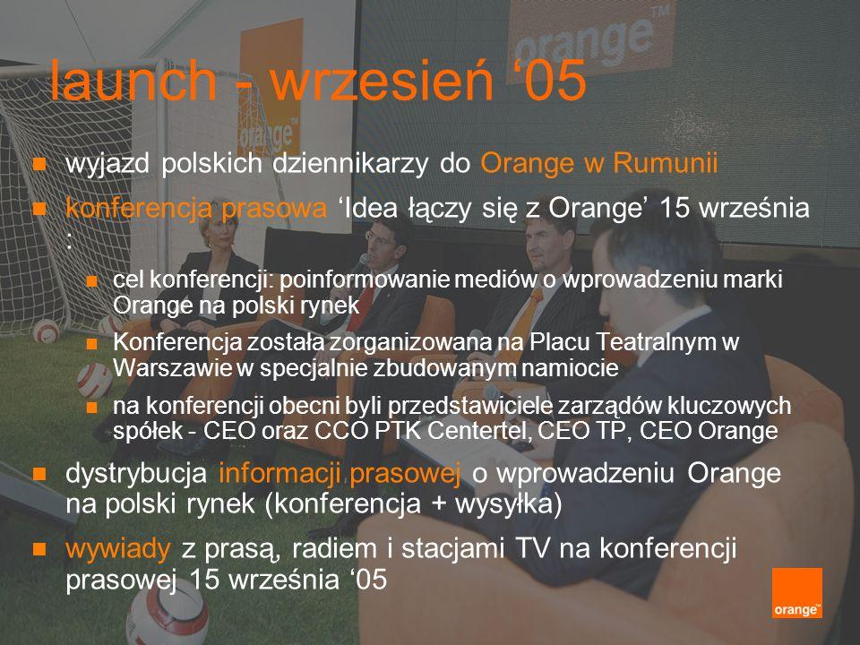 launch - wrzesień 05 wyjazd polskich dziennikarzy do Orange w Rumunii konferencja prasowa Idea łączy się z Orange 15 września : cel konferencji: poinf