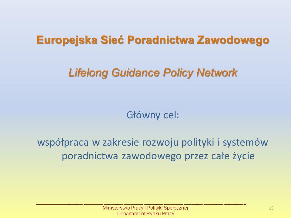 Europejska Sieć Poradnictwa Zawodowego Lifelong Guidance Policy Network Główny cel: współpraca w zakresie rozwoju polityki i systemów poradnictwa zawo